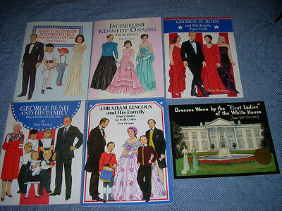 Paper Doll Books Vintage-look Reproduction Lot of 6 Presidents & First Ladies