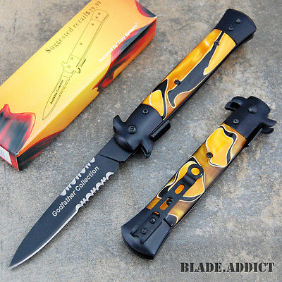 Italian Godfather Stiletto Spring Assisted Open Tactical Pocket Knife CLD106-W