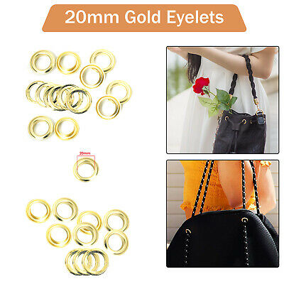 50 x 20mm Gold Eyelets with Washers for Banners Leather Craft Vinyl Scrap Book