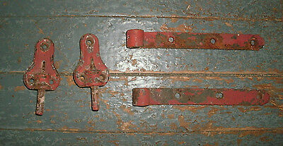 Antique Vintage Pair of Iron Steel Strap Hinges Old red paint