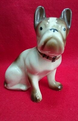 "Vintage French Bulldog Figurine Ceramic 5 1/2"" Tall Brown and White"