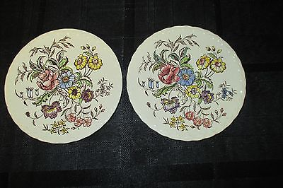 Set of 2 Vernon Kilns Mayflower coffee cup saucers only
