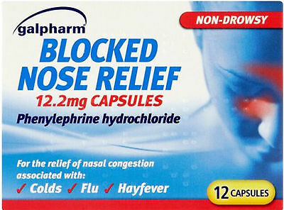 Galpharm Blocked Nose Relief 12.2mg Capsules 12 Pack- Relief of Nasal Congestion