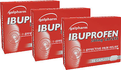 Galpharm Ibuprofen 200mg Caplets 16 Pack X3 TRIPLE PACK - Effective pain Relief