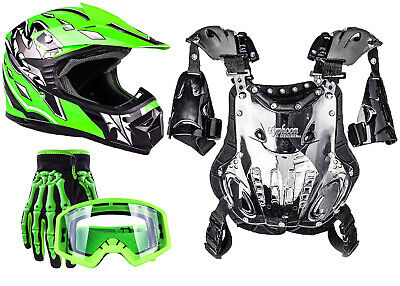 PeeWee Chest Protector Green Helmet w/ Gloves Goggles Motocross Youth Kids ATV