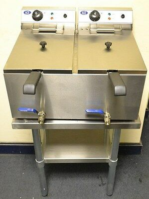 NEW ACE TWIN 17L Electric Deep Fat Fryer with TAPS on Stand Table with 2 LIDS