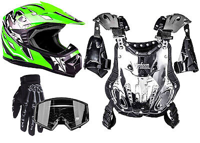 Kids Youth Chest Protector Helmet Green Combo ATV DOT Offroad Gloves & Goggles