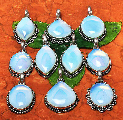 WHOLESALE LOT 10 pcs OPALITE .925 STERING SILVER OVERLAY PENDANTS