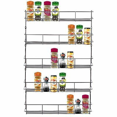 5 Tier Chrome Door Mounted Spice Rack Jar Holder Kitchen Cupboard Wall Storage