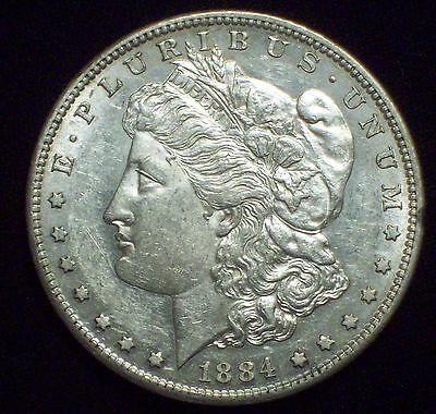 1884 S Morgan Dollar SILVER KEY DATE Breast Feathers NOT Cleaned AU PL LUSTER