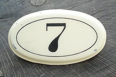 Vintage French Enamel Steel House Number 7 Plaque Metal Sign ~ Wine Cellar Bins
