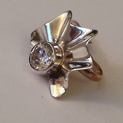 VTG 1980'S TURE DESIGNS STERLING SILVER RING CUBIC ZIRCONIA .925 SIZE 5