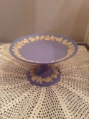Wedgwood Jasperware Blue Footed Candy Dish Made in England Grapevine vintage