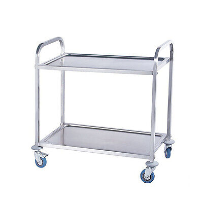 85 x 45 x 90CM Stainless Steel Kitchen Dining Food Catering 2 Tier Trolley Cart