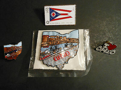 "LOT OF (4) - VINTAGE ""OHIO"" ITEMS (1) PATCH & (3) PINS,    hat, shirt"