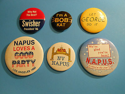 """LOT OF (6) VINTAGE POST OFFICE U.S. MAIL """"N.A.P.U.S POSTAL""""  PIN BACKS/BUTTONS"""