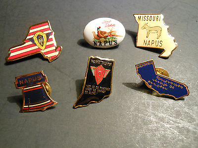 """(6) - VINTAGE U.S. MAIL POSTAL COLLECTABLE """"NAPUS"""" PINS NY SD. MO. PA. IN. CA."""
