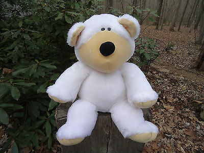 """Vintage 12"""" sitting 1984 Applause Wallace Berrie BEAR """"GUS"""" white plush stuffed"""