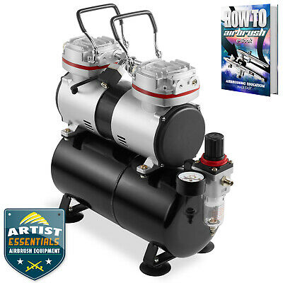 1/3 HP Twin Piston Airbrush Compressor - Professional Oil-less Air Pump w/Tank