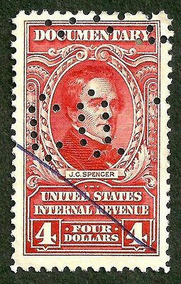 PAPER-GEMS sc#R675 very old US/usa documentary revenue stamp perfin