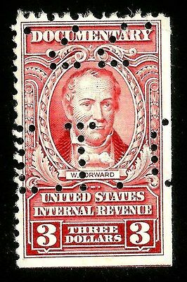 PAPER-GEMS sc#R673 very old US/usa documentary revenue stamp perfin