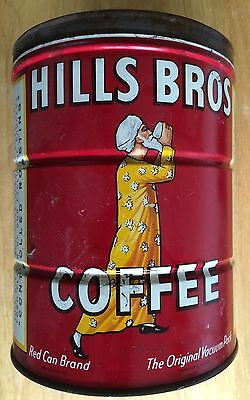 """HILLS BROS COFFEE TIN CAN 2 LB """"Red Brand Can"""" Copyright 1922 - 32 - 36"""