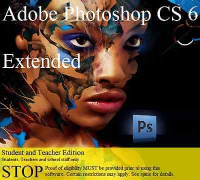 Brand New Adobe Photoshop Creative Suite 6 Extended ~ Student & Teacher ~ Mac Os