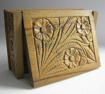 OLD  Wooden hand carved jewelry box folk art floral ornaments