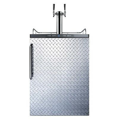 Summit Under Counter Kegerator - Double Faucet - Diamond Plate - Draft Beer Bar