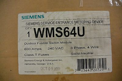 WMS64U Siemens Fusible Main Switch Outdoor 3p 4w Type 3R 600A 240V Meter Disconn