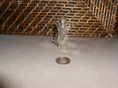 Miniature Christmas tree ornament clear glass angel figurine design