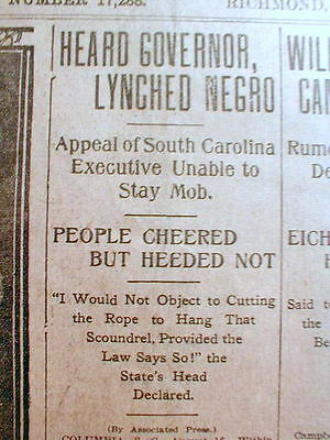 1906 newspaper NEGRO MAN LYNCHED by White MOB at GREENWOOD South Carolina