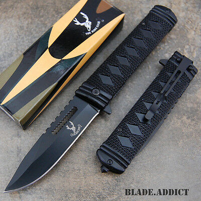 """9"""" Katana Sword Style Tactical Spring Assisted Open Rescue Pocket Knife 5974-F"""