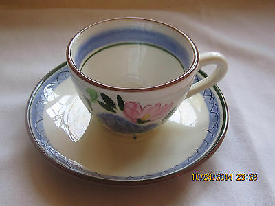 1 Stangl Hand Painted Cup and Saucer Set - Fruit and Flowers Pattern