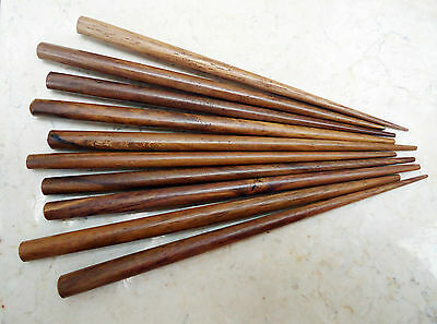 Wholesale Lot of 10 Hand Carved Wooden 6 Inch Hair Sticks End Drilled