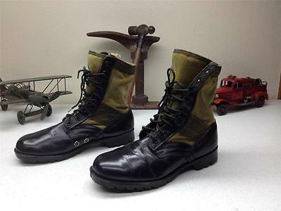 Vintage Military Black Green Canvas Army Combat Lace Up Jungle Tropic Boots 12D
