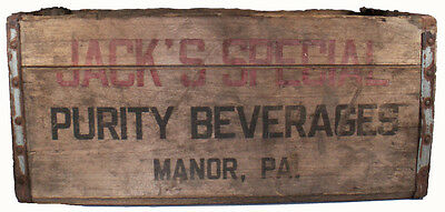 "Vintage 1953 Purity Beverages Jack's Special Soda Pop 19""l Wooden Shipping Crate"