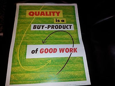 Vintage Workplace Motivational Poster Quality is a buy-product of Good Work