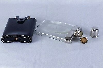 Rare Vintage Her2 Germany Curved Glass Flask w/ Black Leather Case Metallic Cap