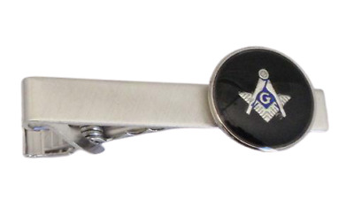 "NEW Mens Masonic 2"" Tie Bar Clip Clasp Boxed Silver Black Master Mason TUXXMAN"