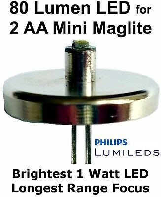 Mini MAGLITE AA LED UPGRADE Flashlight Bulb Philips 1 watt Conversion