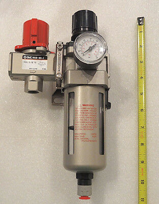 """SMC AIR FILTER AND REGULATOR KIT 1/2"""" NPT WITH AUTO DRAIN & WALL MOUNT KIT"""
