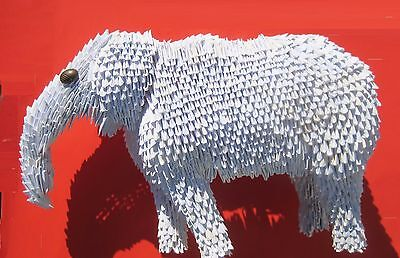white elephant (origami, paper folding,  art,gift, sculpture, recycle)