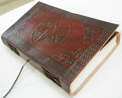 Handmade Leather Journal Blank Book of Shadows Pentagram Diary Writing Notebook