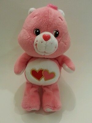 """9"""" Care Bear LOVE A LOT Pink Red Valentine's Day Double Hearts 2002"""