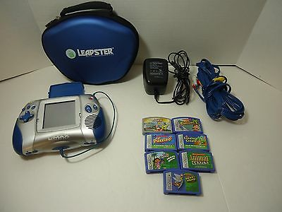 Leap Frog Blue LEAPSTER L MAX LEARNING SYSTEM 7 Games Case TV Cord Adapter