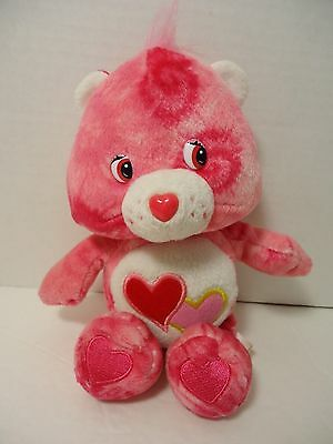 """8"""" Tie Die LOVE A LOT CARE BEAR Plush Pink Red with 2 hearts Valentines Day"""