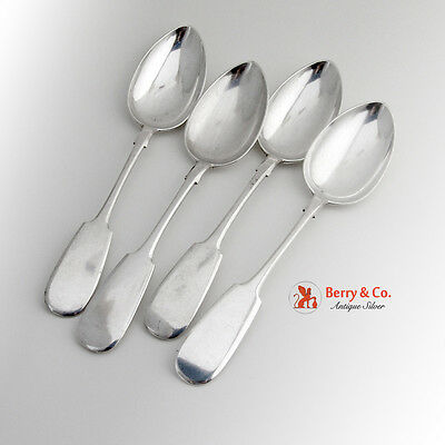 Russian Table Spoons Set of 4 Fiddle 84 Standard Silver 1890