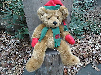 "17"" Russ CHRISTMAS BEAR ""MITTENS"" brown plush stuffed scarf, hat, mittens tag"