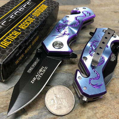 Handy Spring Assisted Dragon Strike Collection Small Blue Pocket Knife TAC-FORCE